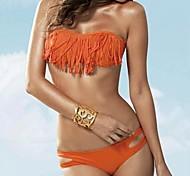 Women's Fashion Sexy Solid Fringe Bikini Set Swimwear Swimsuit