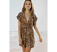 Women's Fashion Coffee Leopard Deep-v Bikini Swimwear Swimsuit Beach Cover-up Mini Dress