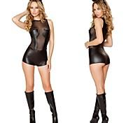séduisante catwoman noire PU&mousseline de soie uniformes sexy
