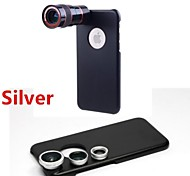 8X Telephoto Lens / Fisheye Lens / Wide Angle Add-on Macro Lens Kit with Back Case for iPhone 6 Plus (Assorted Colors)