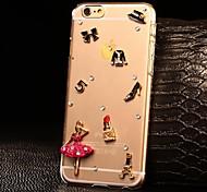 diy hermosa dama con el caso duro del patrón de diamantes de imitación de plástico para iphone 6