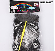 Miss ROSE®600PCS Rainbow Color Loom Style Fun Loom Band(1Package S Clip+1pcs Hook,Black)