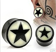 Acryl schwarzer Feststoff nicht-Schraube stern Ohrstöpsel Flesh Tunnel Messgeräte Piercing Körperschmuck einen Satz von 2 12 mm