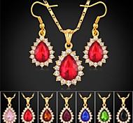 U7® 18K Gold Plated Rhinestone Fancy Stone Pendant Necklace Dangle Earrings Luxurious Jewelry Set