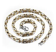 5mm Thickness Titanium Steel Chain Necklaces (1 pc, Golden / Silver)