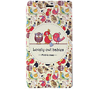 Owl Pattern PU Leather Case with Stand and Card Slot for Sony M2 (S50h)
