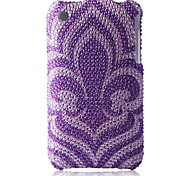 Purple Bottom Flower Bling Case PC Hard Case for iPhone 3G/3GS