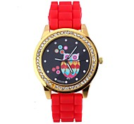 Women's Men's Silica Diamond Owl Pattern Circular Silicon Tape Chinese Movement Watch(Assorted Colors)