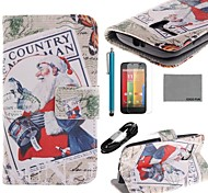 COCO FUN® Santa Claus Pattern PU Leather Full Body Case with Film USB Cable and Stylus for Motorala Moto G