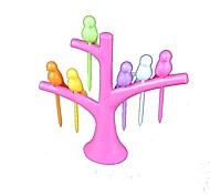 pájaros en árboles frutales tenedor 1 juego