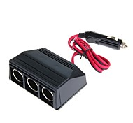 WF-075 120W 12V-24V 1-to-3 Car Cigarette Lighter Socket Power Adapter (Black)