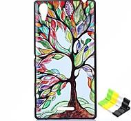 caso duro del patrón de árbol colorido PC y soporte para teléfono para sony xperia t3