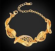 u7®cute оставляет Rhinestone браслет 18k реальное Позолоченные ссылка браслет ювелирных изделий браслет для мужчин / женщин