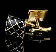 toonykelly Mode für Männer Silber-Kupfer-Gold-Emaille Manschettenknopf (gold) (1 Paar)