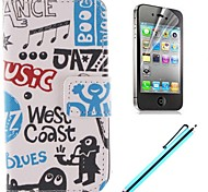Cartoon Design  PU Full Body Case with Card Slot and Stand for iPhone 4/4S