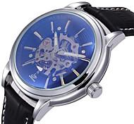 auto-mecânica retro oco relógio marcar pu couro banda pulso dos homens (cores sortidas)