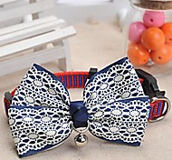 Dog Collar Adjustable/Retractable / Bow Tie / Flower / With Bell White / Blue Nylon / Lace