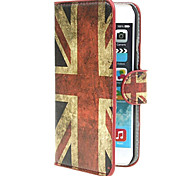 UK Flag Pattern PU Leather Cover with Stand and Card Slot for iPhone 6