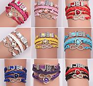 Eruner®Leather Bracelets Zircon Multilayer Alloy Charms Handmade Bracelets