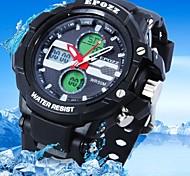relógio resistente à água quadrado de borracha mostrador do relógio lcd analógico-digital esportes banda dos homens (cores sortidas)