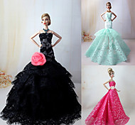 3 Pcs Barbie Doll Elegant Princess Dress