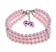 lureme rosa drei Reihen Perle Haustierhalskette (Kettenlänge: 20 + 6 cm)