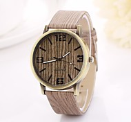 Women's Arabic Numerals  and Arrow  Digital Round Table Pure Color Teak Strap  Watch C&D-354
