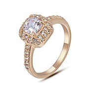 Fashion Luxurious Ring For Women With Square Austrian Crystal Stellux Zirconia CZ Party Jewelry