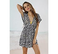 Women's Fashion zebra Deep-v Bikini Swimwear Swimsuit Beach Cover-up Mini Dress