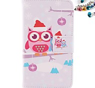 Owl Pattern PU Leather Full Body Case with Card Slot And Stand with Dustproof Plug for Nokia Lumia N630