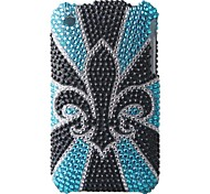 Blue Black Flower Bling Case PC Hard Case for iPhone 3G/3GS