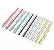 40-Pin 2.54mm Pitch Pin Headers(Red+Black+White+Yellow+Green) (10 Pieces a Pack)