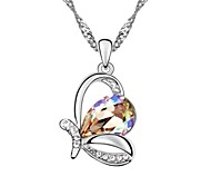 Colorful Butterfly Short Necklace Plated With 18K True Platinum Tanzanite Crystallized Austrian Crystal Stones