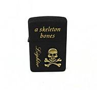 Skull & Bones Pattern Retro Style Oil Lighter - Bronze + Black