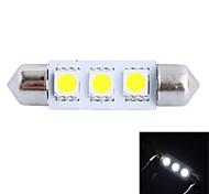 gc® 39mm 0.6W 50LM 6000k 3x5050 smd led blanco de la lámpara del coche de lectura / matrícula / luz de la puerta (12v dc)