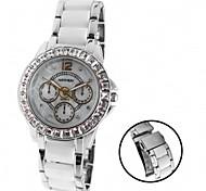 Woman Ladies Round Dial Alloy Ceramic Watchband Water Resistant Quartz Watch FW830AA
