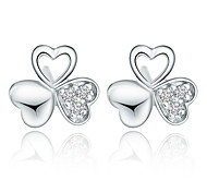 Stud Earrings Sterling Silver Heart Screen Color Jewelry 2pcs