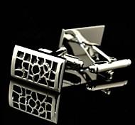 Toonykelly Fashion Men's Silver Copper Black Enamel Cufflink(Silver)(1 Pair)