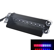 8W Blue and Red Light 3-mode Car LED Flashing Warning Light  DC12V