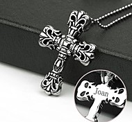 Personalized Gift Cross Shapes Stainless Steel Jewelry   Engraved Pendant Necklace with  60cm Chain