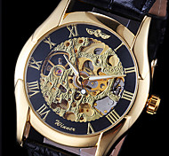 WINNER® Men's Hollow Gold Skeleton Mechanical Leather Band Wrist Watch Cool Watch Unique Watch