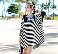 Women's Fashion Sexy Black&White Stripe Bikini Swimwear Swimsuit Sun Prevention Beach Cover-up