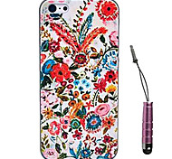 Flowers Are Blooming Pattern Hard Case & Touch Pen for iPhone 4/4S
