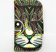 Cat Pattern PU Leather Full Body Case with Card Slot and Stand for S3 Mini I8190N