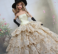 Barbie Doll Polka Dots Ruffles Deluxe White & Black Princess Dress