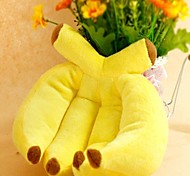 Cute Yellow Banana Shaped Squeaking Chewing Plush Toy for Pet Dogs