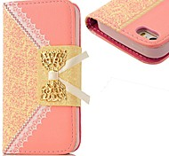KARZEA™Hanging Chain Pocket Design PU Leather Metal Bow Magnetic Snap Cover Case for iPhone 5/5S(Assorted Colors)
