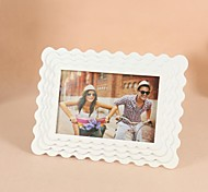 Personalized Framed Photo 7 Inches Raised Grain Design White Wooden Frame with Stand 1 Photo