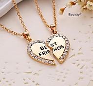 Eruner® 2015 new style broken heart 2 parts pendant necklace best friend necklace (2 pcs 1 set)