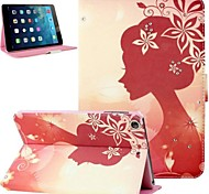 Sunset Girl Pattern PU Leather Flip Protective Case Cover and Rhinestone for iPad Air 2